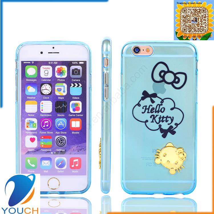 Colorful transparent soft tpu silicone 3d cute animal hello kitty mobile phone case for iPhone 6 6s 6 plus 6s plus