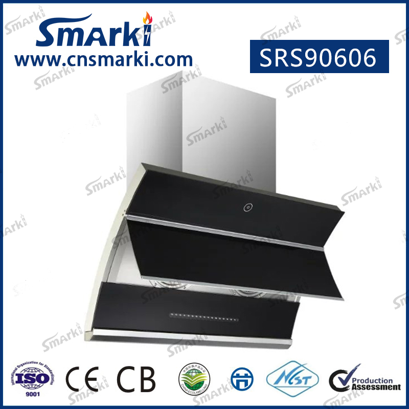 90cm side slim design black tempered glass range hood SRS90606