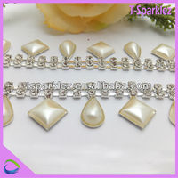 bridal crystal beaded trims and belts rhinestone pearl trimming