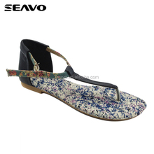 SEAVO SS18 summer ladies open toe style flat thick sole zoris sandals for women