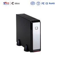 REALAN elegant mini itx computer case E-2019 with power supply, beautiful design thin client htpc case, low power dissipation
