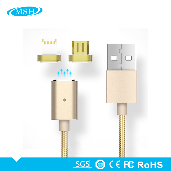 Customized Quick Charge 2.4A Micro 2 in 1 Micro USB Charging <strong>Cable</strong> Magnetic Adapter Charger For iPhone or Android