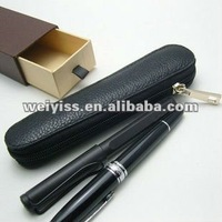 leather zippered pencil pouch