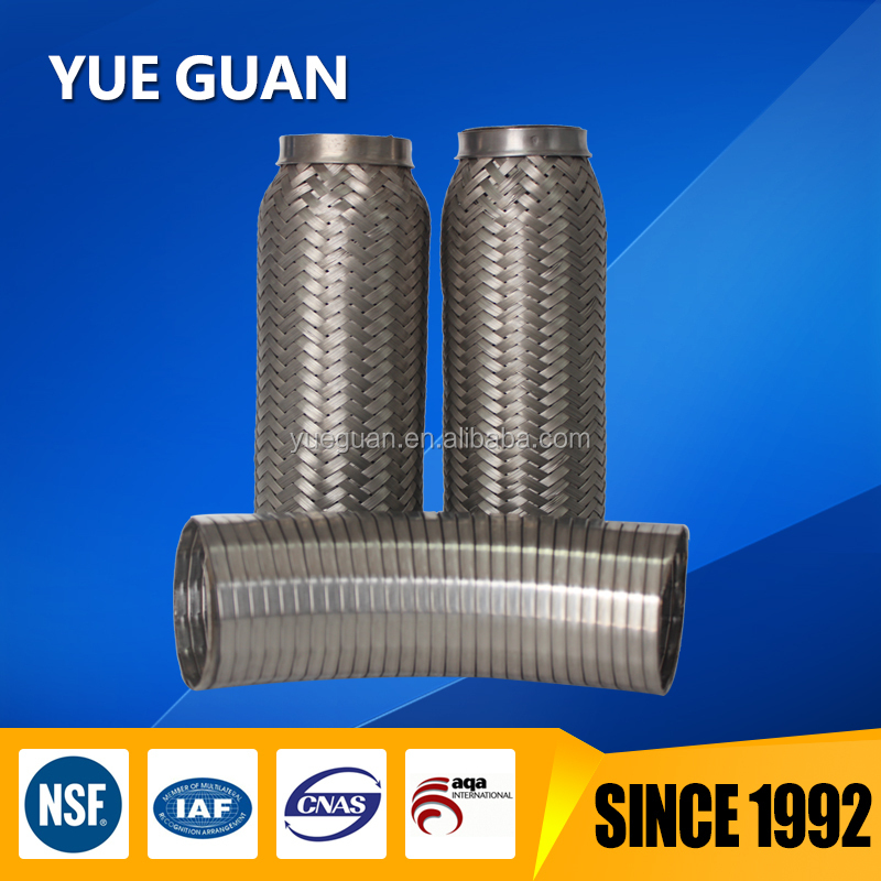 automotive exhaust and engine exhaust flexible stainless steel bellows with double braids and flange