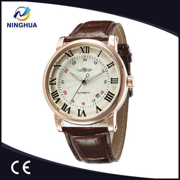 9045A Newest Top Brand Winner Most Popular Rome Number Leather Watch Mechanical Wrist Watches For Man