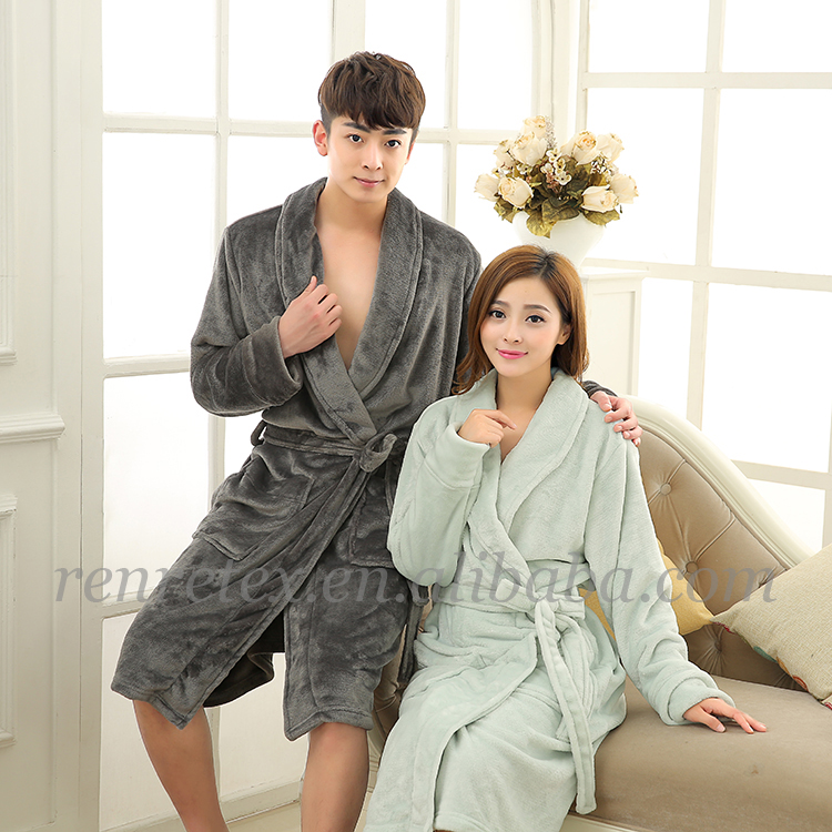 made in china OEM fluffy PV fleece double layer thick mens robe