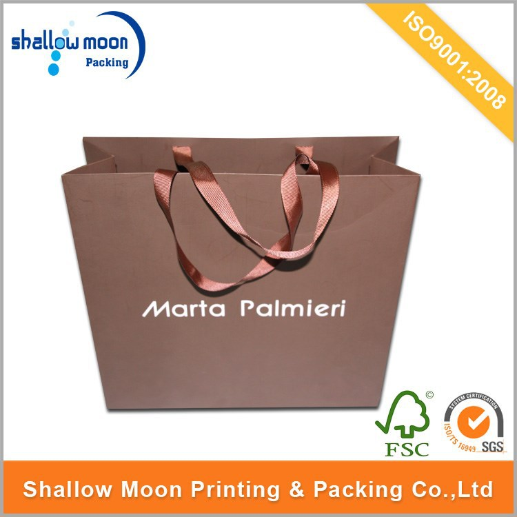 recycle custom cheap logo print ribbon shopping gift packing paper bag wholesale