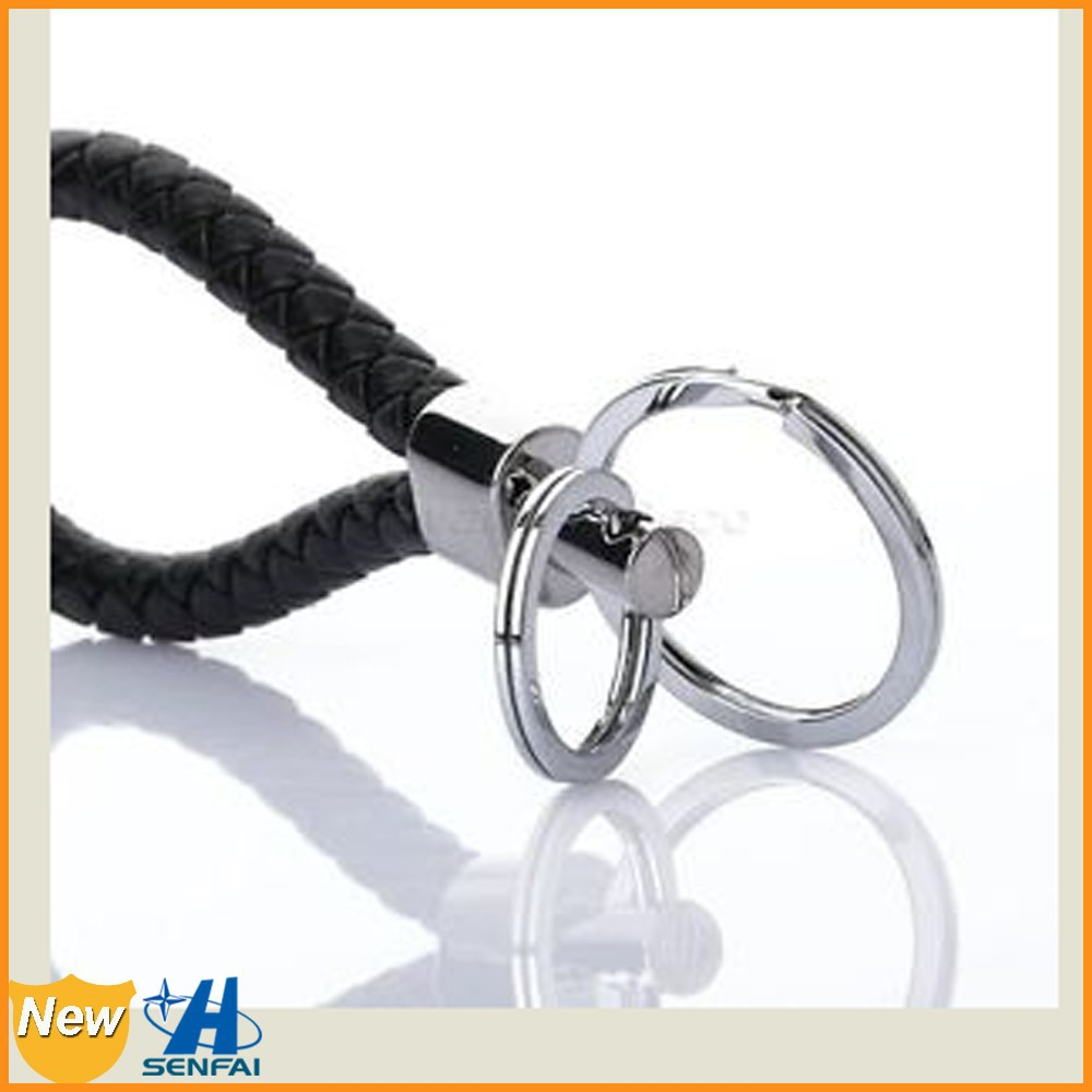 Hot sale Yiwu factory fashion jewelry OEM silver plated double ring black PU keychain