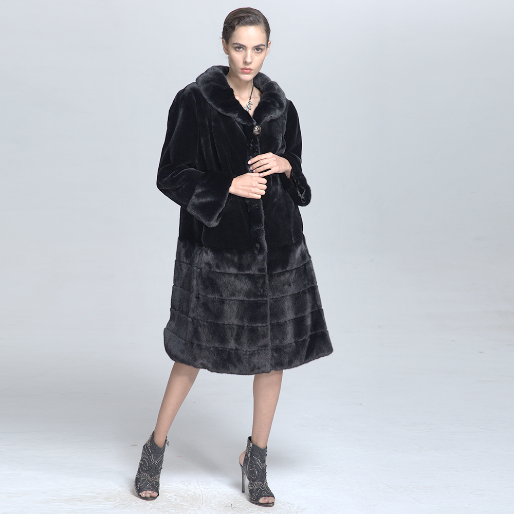 Fashionable Customized Women Long Mink Fur Coat