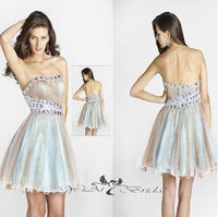 CK0015 A-line Beaded Sweetheart Neckline Strapless Fairy Tulle Evening Dress 2014