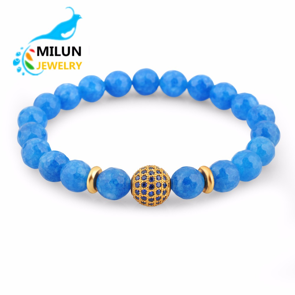 Wholesale blue 8 mm beads Natural stone stainless steel crystal ball bracelet bangle women