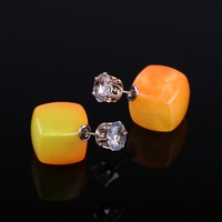 E1460 Hot Sale Crystal Stud Earrings Candy Color Square Resin Earrings Double Side Pearl Earrings For Women