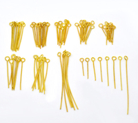 High Quality In Assorted Sizes 0.7mm Gold Plated Eye Pins