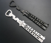 free shipping wholesale stock Multi function Stainless Steel Trainer Tool Butterfly Knife Bottle Opener