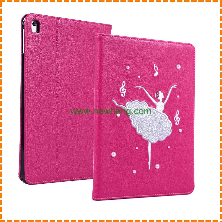 Fashion Cartoon embroidery girl Flip Litchi Leather Case For Ipad mini 4