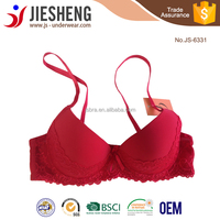 2015 New Product Adjustment Beautiful Sexy Breathable Gathering Cleavage Hot Red Color Lace Three Quarters Cup Bra