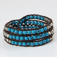 Weaves Style Inspired Blue Striped Round Beaded Wrap Bracelet 4 Rows Brown Leather Wrap Bracelet Vintage Jewelry