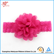 2017 new style custom baby girls elastic fabric flower headband for party