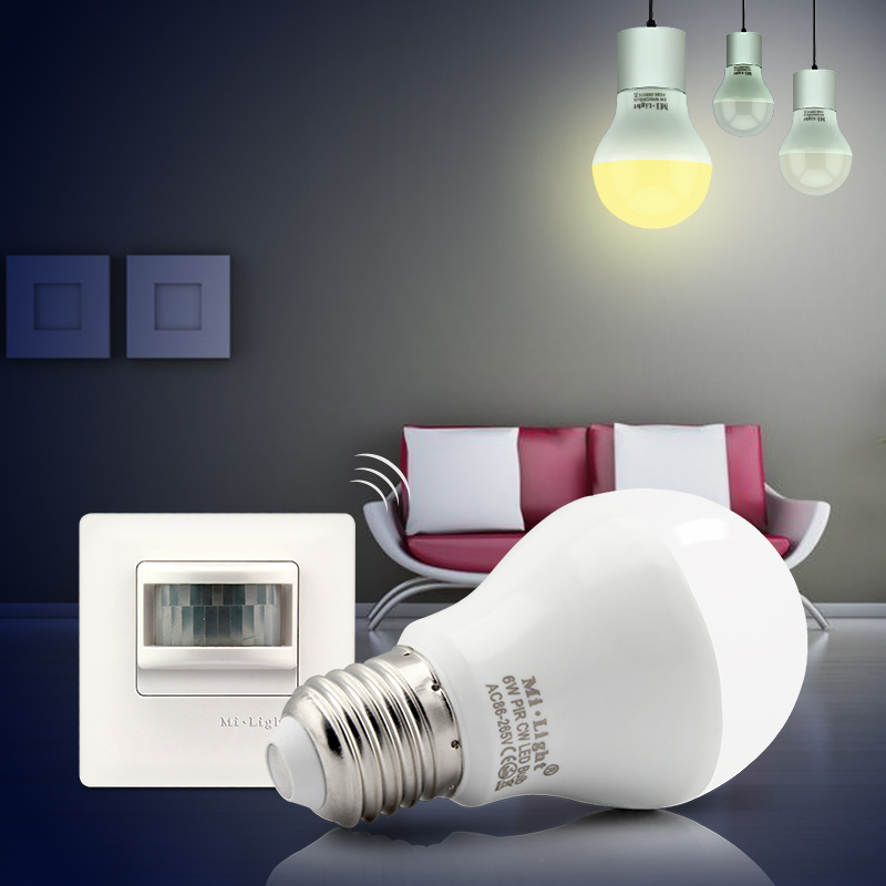 E27 base AC86-265V input Milight 6W PIR LED bulb with PIR sensor switch