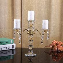 HOT!! 3 arms cheap hanging crystals wedding table centerpiece crystal candelabra
