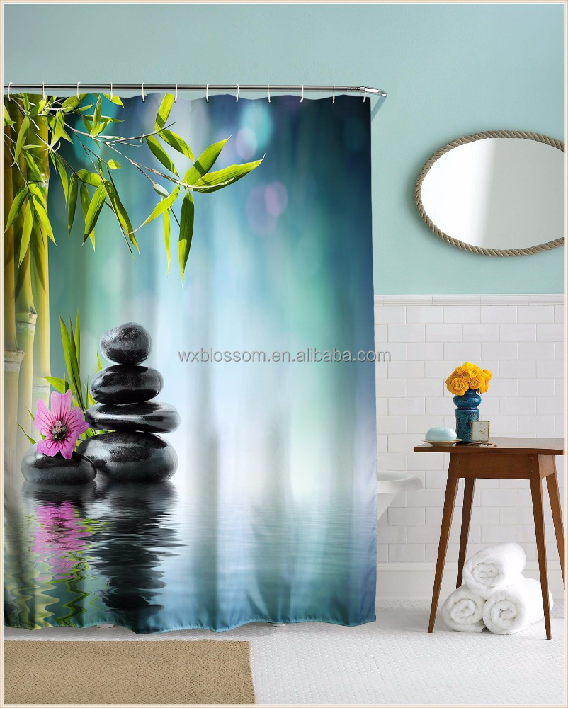 Bamboo design digital printing color changing shower curtain