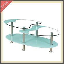 3 Tiers Clear Glass Round Folding Coffee Table