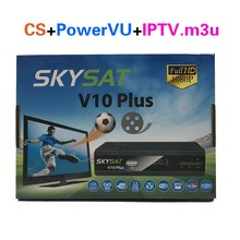 SKYSAT V10 Plus DVB-S2 Receiver with one year IKS Package for Europe Middle East&North Afirca support IPTV m3u Powervu