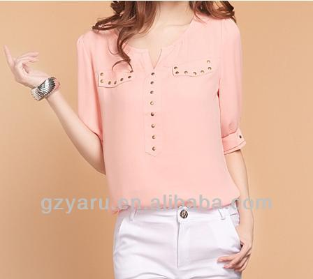 Short Sleeve V Neck Ladies Office Wear Chiffon Blouses 2013