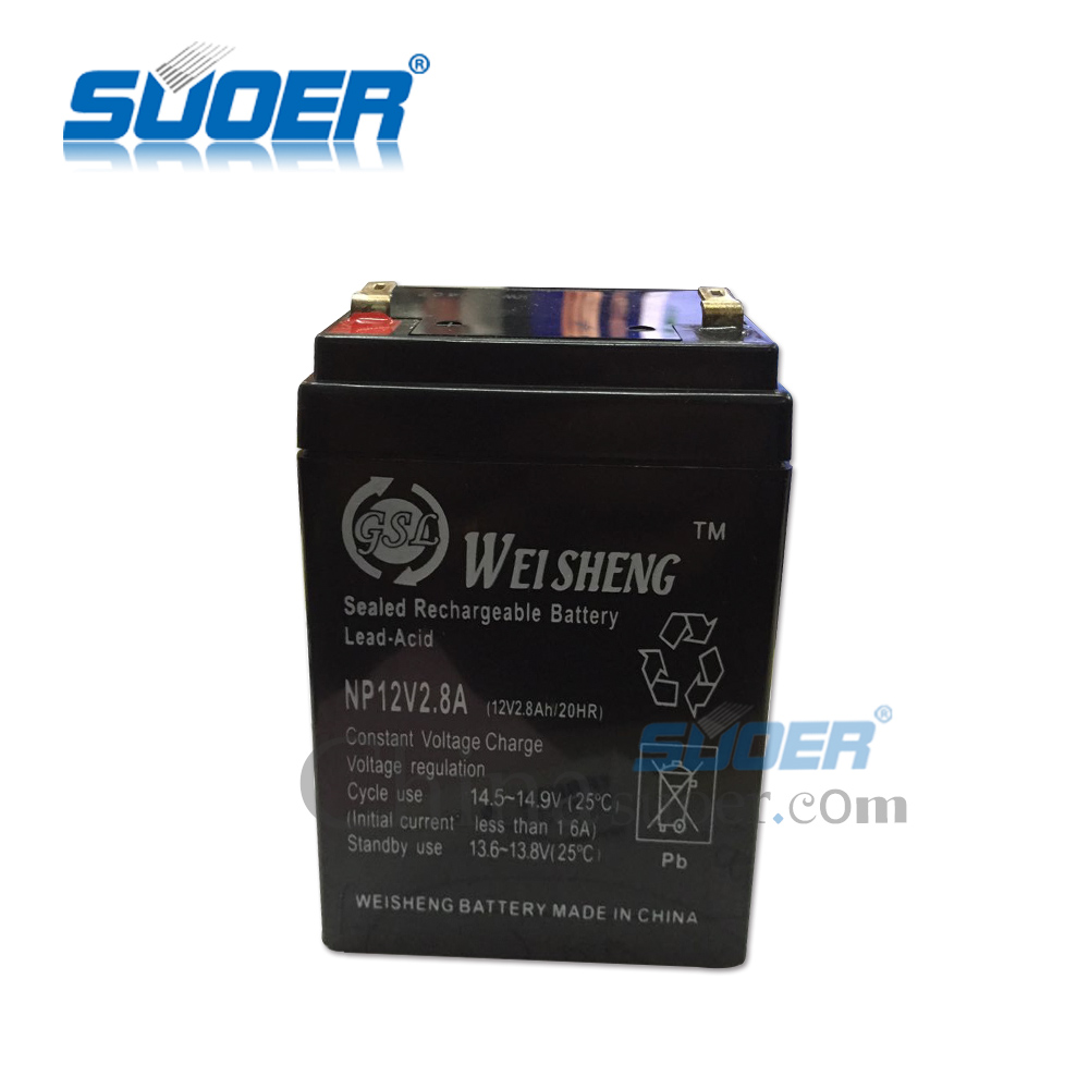 Suoer Storage Battery 2.8A Recharge Lead Acid Storage Battery 12V Solar Energy Storage Battery with CE&ROHS