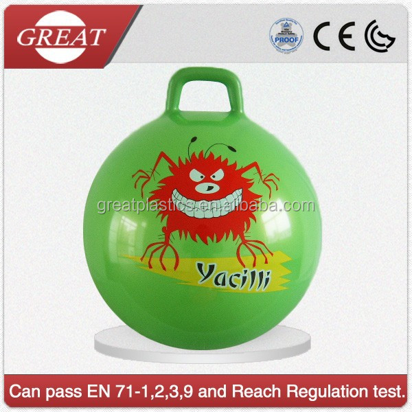 Kids green jumping bouncy ball with handle