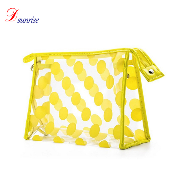 Clear brush case cosmetic travel toiletry bag with yellow printing
