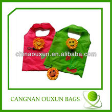hottest eco-friendly flower reusable shopping bag folding nylon bag
