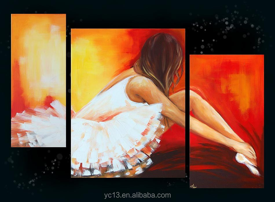 panel fashion beautiful nude art dancing wall decor canvas framed acrylic oil painting