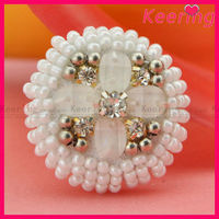 2015 round decorative handmade beaded buttons for clothing WBK-1321