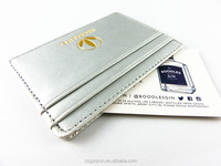 MIni Slim Wallet Bag Gift Credit Card Case Universal Business Silver PU Genuine Leather Card Holder with 3 Card Slots