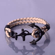 Fashion Beautiful Cute Leather Black Anchor Mens Bracelets