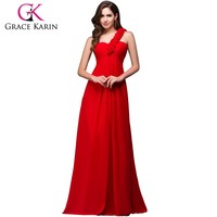 Grace Karin One Shoulder Rose Decoration Chiffon Long Bridesmaid Dress Patterns CL3402-1