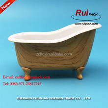 PP Plastic mini bathtub container with water transfer printing / small size plastic bathroom container holder