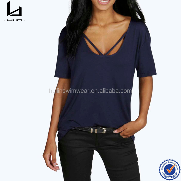 Clothes designing apparel women loose t shirt surf shirt plain t shirts wholesale China