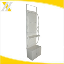 2018 common popular white metal curved sides orifice hardware display rack, power tool shelf,stand with locker