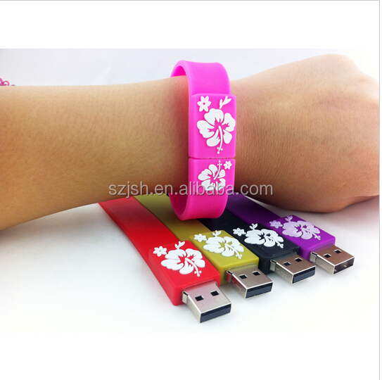 Free Logo PVC Colorful Flower Logo Bracelet Shape USB 2.0 Flash Stick For Giveway