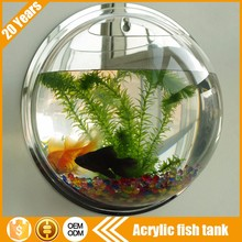 Wholesale Free design fashion wall hanging oval round sphere shape mini small decoration glass bowl fish tank for sale