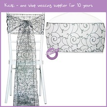 MX08440 hot sales bride organza embroidery chair sash for party and events