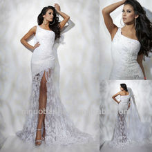 One Shoulder Front Slit Lace Wedding Dress