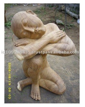 Hard Sitting Human Wooden Carved Wooden Statue