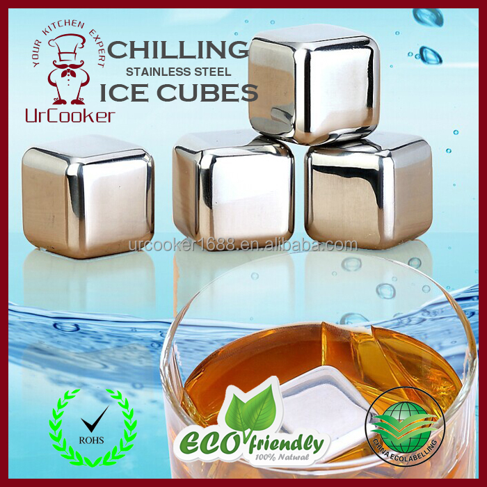 2015 Amazon hot selling Whiskey stone Stainless steel Ice cubes whisky chilling stone