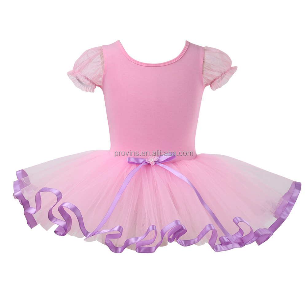 Pluffy Sleeve Ballet Dance Performance Tutu Skirt Dress Adult Girls