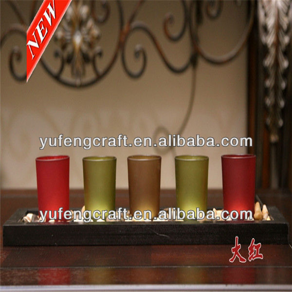 colorful frosted candlestick holders with wedding tray