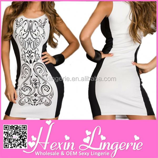 Lovely woman newest polyester knee length black sexy party club dress