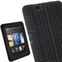 "Rugged heavy duty Silicone Skin Case Cover with Tyre Tread Design for Amazon Kindle Fire HD 7"" Display Protective Tablet Case"